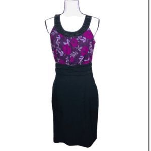 Maurice's Black and purple floral dress with beads